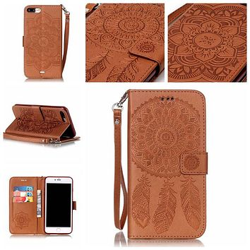 Campanula Flower Phone Case For Apple iPhone 5 5S SE 6 6S 7 Plus Luxury Book style Folio wallet Card Holder Back Cover Coque