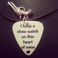 I keep a close watch on this heart of mine guitar pick necklace with silver pistol gun charm country jewelry
