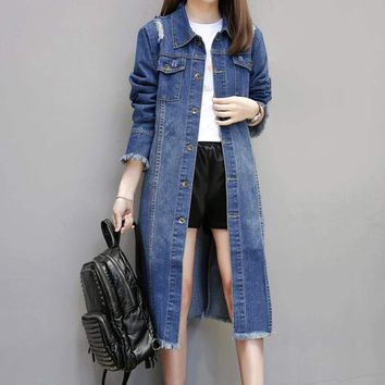 Womens Ripped Long Denim Jacket