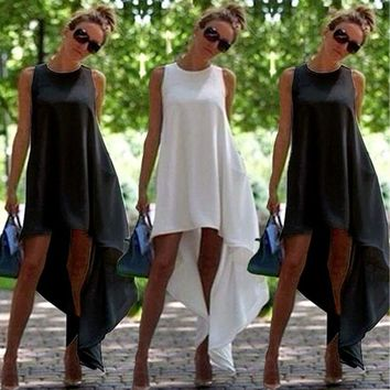 Women's Simple Elegant Fit And Flare Short Sleeveless High Low Beach Party Dress