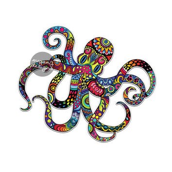 Octopus Sticker Colorful Design Bumper Sticker Laptop Decal Car Decal Ocean Nautical Beach Animal Fish Octopus Art Hippie Boho Cute Decal