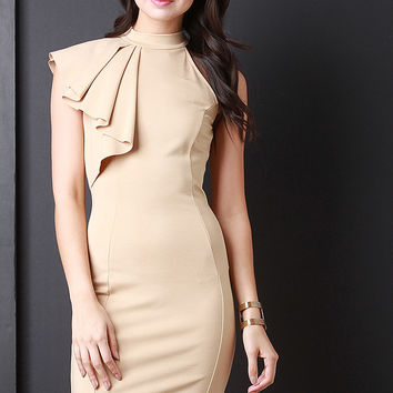 Asymmetrical Mock Neck Bodycon Dress