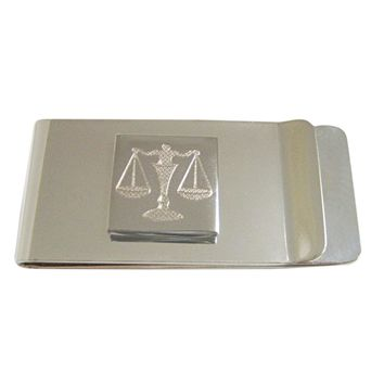 Silver Toned Etched Scale of Justice Law Money Clip