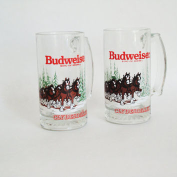 Budweiser Clydesdale Beer Mugs, Christmas 1989, Vintage Beer Glasses, Retro Bar Decor, Gift for Him