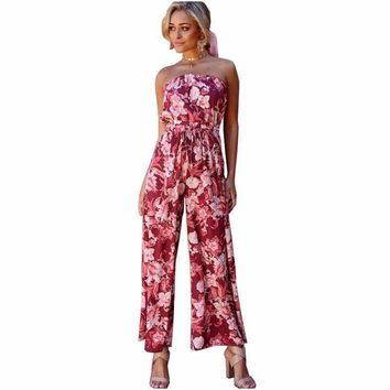 Summer Women Jumpsuits Bohemian Wrapped Chest Elastic Waist Female Rompers Club Printed Overalls Plus Size