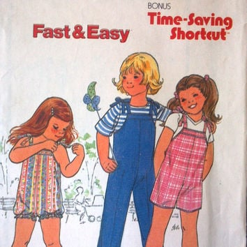 Butterick 6505 Pattern for Child's Overalls or Romper, Size C, Fast & Easy, 1970's