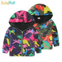 Spring/Autumn Boy and Girls Outwear Children's Camouflage Hooded Jackets Handsome Kid Long Sleeve Windbreaker CMB319