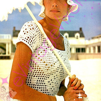 2 patterns Instant Download Vintage Filet Crochet Blouse AND HAT Beach Misses Top 1970s Party Club Festival Summer Holiday Lacy Beach USA