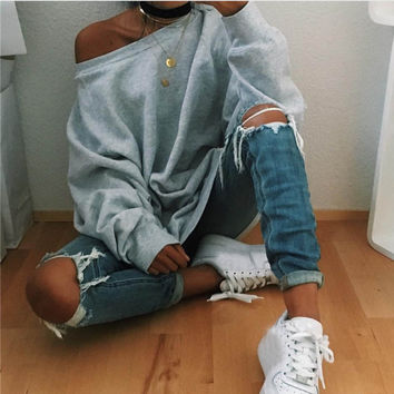 Women Sweatershirt Hoodie Hip-hop Loose Round Neck Shoulder-length Tops Tee Shirt femme camiseta mujer INY66