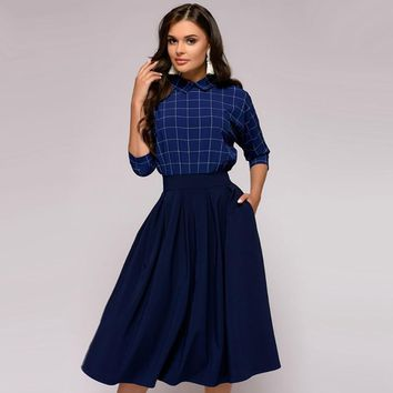 Elegant Women A-Line Plaid Party Dress 2018 Autumn Three Quarter Sleeve Pockets Dress Vintage Turn-down Collar Casual Dresses