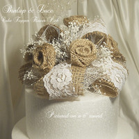 Burlap and Lace Cake Topper, handmade, one of a kind and ready to ship.