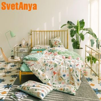 Svetanya Fox Flowers Bedding Set Cotton Sheet Pillowcase Duvet Covet Sets Linen EU US JAPAN AU RU Single Double Queen Full size