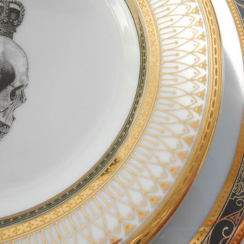 Gold and Black Skull Wedding Dinnerware/China/Plates/Tableware/Dishes, very Steampunk