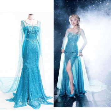 Ice Snow Queen Party Costume Cosplay Dress Adult Lady Cinderella Snow White Princess
