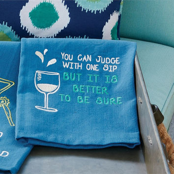 Wine Themed Embroidered Kitchen Towels (You can judge with one sip but it is better to be sure)