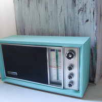 Aqua Vintage Panasonic Electric AM FM Radio, Retro Aqua Blue Stereo, Mid Century Modern Decor, Gift Ideas