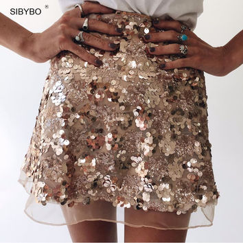 Sequin Women Skirt 2016 Fashion Winter Autumn Golden Celebrity Christmas Party High Waist Mini Glitter A Line Sexy Short Skirts