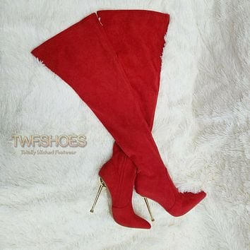 """CR Holden Red Stretch Faux Suede Wide Top 4.5"""" High Heel Thigh High Boots"""