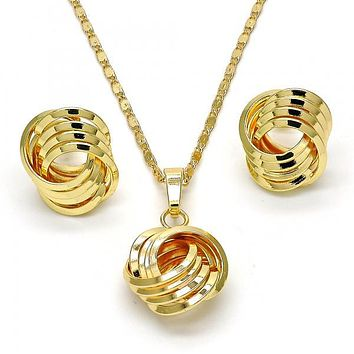 Gold Layered 10.63.0516 Earring and Pendant Adult Set, Love Knot Design, Polished Finish, Golden Tone