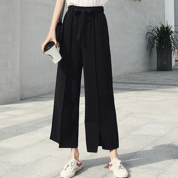 Wide Leg Pants For Women Lace up Bow Black Classic Pleated Harajuku Ankle-length Female Elegant Trousers Tender Cropped Pants