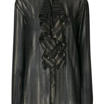 CREYONJF Saint Laurent Ruffled Stripe Shirt - Farfetch