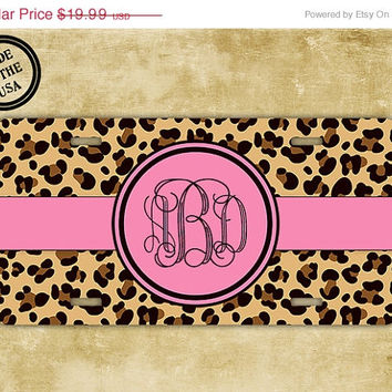 SALE Monogrammed license plate, front license plate - Hot pink with leopard animal print - your initials on this cute vanity car tag (9989)