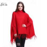 Sweaters Poncho Turtleneck Women Tassel Pullover and Sweater Jumper Loose