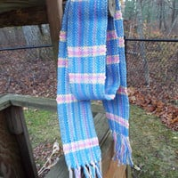 Hand Woven Blue Cotton Scarf with Pink and Yellow, lightweight scarf, handwoven, hand-weaving, woven accessories, gifts for women, handmade