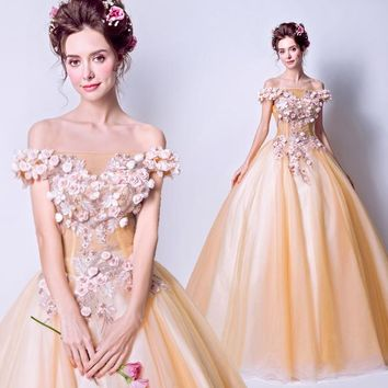 Gold Prom Dresses Long Ball Gown Off Shoulder Floral Pearl Lace Applique Boat Neck Evening Gown Party Dress