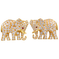 CARTIER Diamond Elephant Earrings