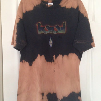 Bleached, tie dyed unisex XL Tool one of a kind t shirt grunge