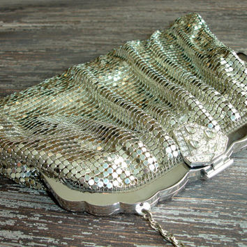 Vintage Whiting and Davis Silver Mesh Purse, Art Deco Rhinestone Clasp, Metal Liquid Silver Lamé Evening Bag, Vintage Bride, Wedding Handbag