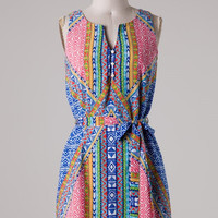 Well Traveled Colorful Print Dress