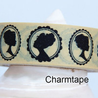Black Victorian Lady Cameo Washi Masking Tape Roll Adhesive Stickers WT4