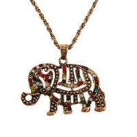 Elegant Colorful Rhinestone Inlaid Elephant Pendant Zinc Alloy Necklace Chain Neck Ornament for Female (Gold)
