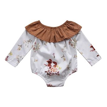 Pudcoco Cute Newborn Infant Baby Girls Floral Romper Long Sleeve Ruffle Jumpsuit Playsuit Cotton One-Piece Fall Winter Clothing
