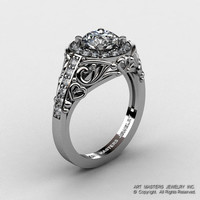 Italian 950 Platinum 1.0 Ct Cubic Zirconia Diamond Engagement Ring Wedding Ring R280-PLATDCZ