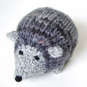 """Hand Knit Hedgehog Toy, Ready To Ship, Little Stuffed Animal Woodland Animal Stuffed Toy Knit Toy Porcupine Toy Baby Boy Gift 4 3/4"""" Long"""