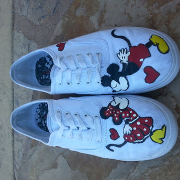 Handpainted Minnie and Mickey Mouse shoes