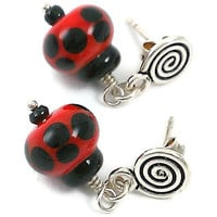 Sterling Silver and Lampwork Ladybug Post Earrings