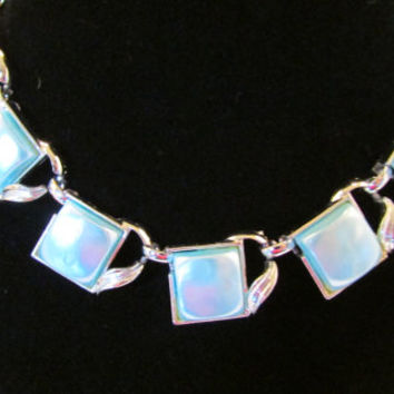 Coro Thermoset Lucite Vintage Necklace In a Light Fluorescent Blue