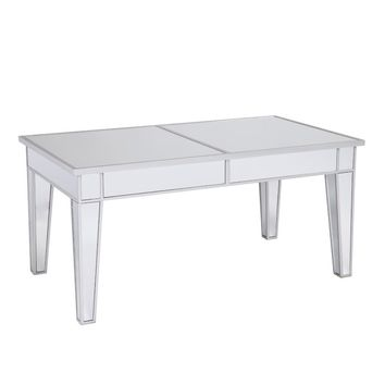Mirror Cocktail Table/Coffee Table, Silver & Clear By The Urban Port