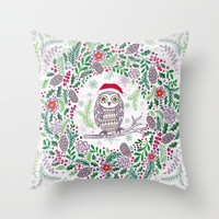 Owl Wreath Throw Pillow by Janet Broxon