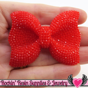 2 pc FAUX RHINESTONE Red BOWS Resin Decoden Kawaii Cabochons 52x40mm