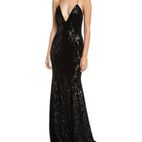 Jay Godfrey Major Deep V-Neck Sleeveless Velvet Sequin Evening Gown