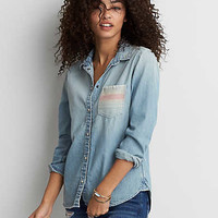 AEO Pocket Denim Shirt , Light Wash