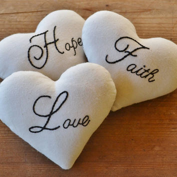 Faith Hope Love Heart Decorative Pillows - Bowl Fillers - Tucks - Ornies - 1 Corinthians - Christian - Wedding - Black Ticking