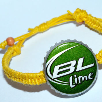 Bud Light Lime Beer Bottle Hemp Cap Bracelet Coral Hemp String
