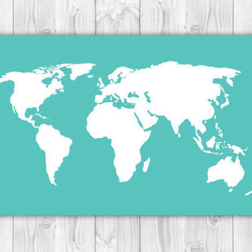 "World Map Poster - Sizes from 4x6"" to 36x48"" - Travel Art Print - Turquoise and White - dorm, nursery decor"