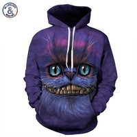 Mr.1991INC Autumn Winter Thin Stylish 3d Sweatshirts Men/Women Hoodies With Hat Print Cheshire Cat Hooded Hoody Tops